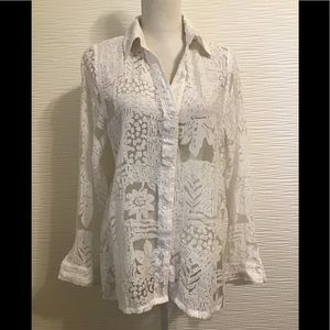 NWOT Susan Graver white sheer shirt button front